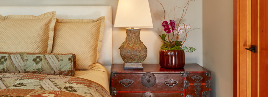 Verdi gris bronze urn lamps from Lawrence and Scott