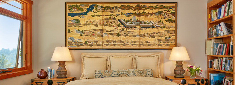 Monochromatic duvet cover paired with it print bolster w/ Japanese antique screen painting above