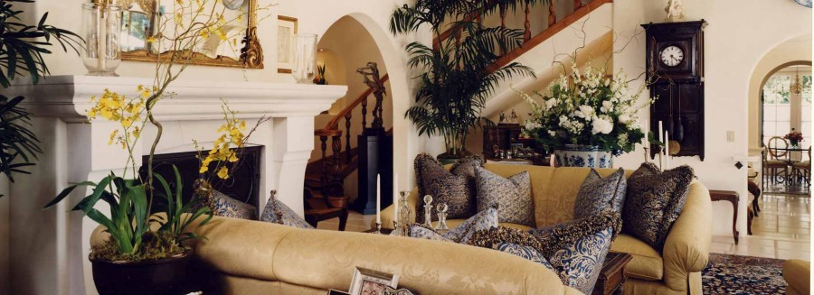 Mediterranean Villa - Living Room Fireplace