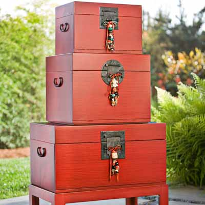 Kay Heizman Red Trunk Tables