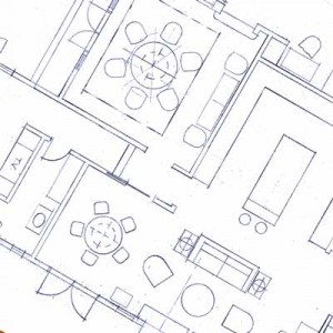 space planning blueprint and furniture layout